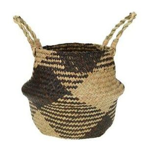Foldable straw rattan basket